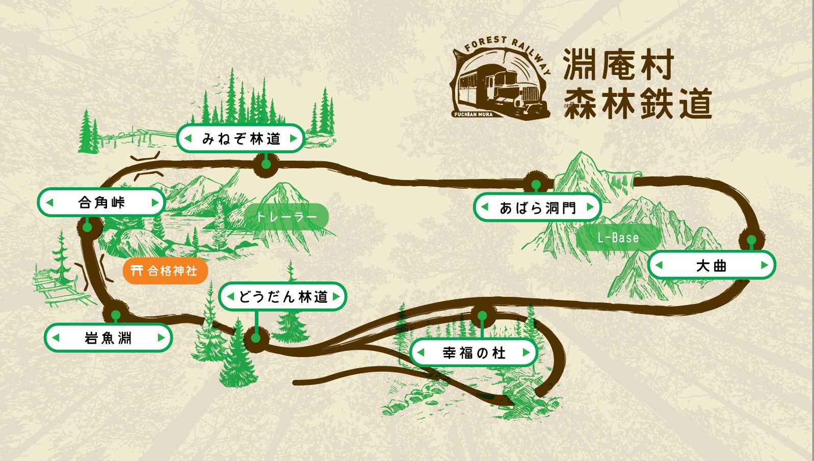 淵庵村森林鉄道路線図